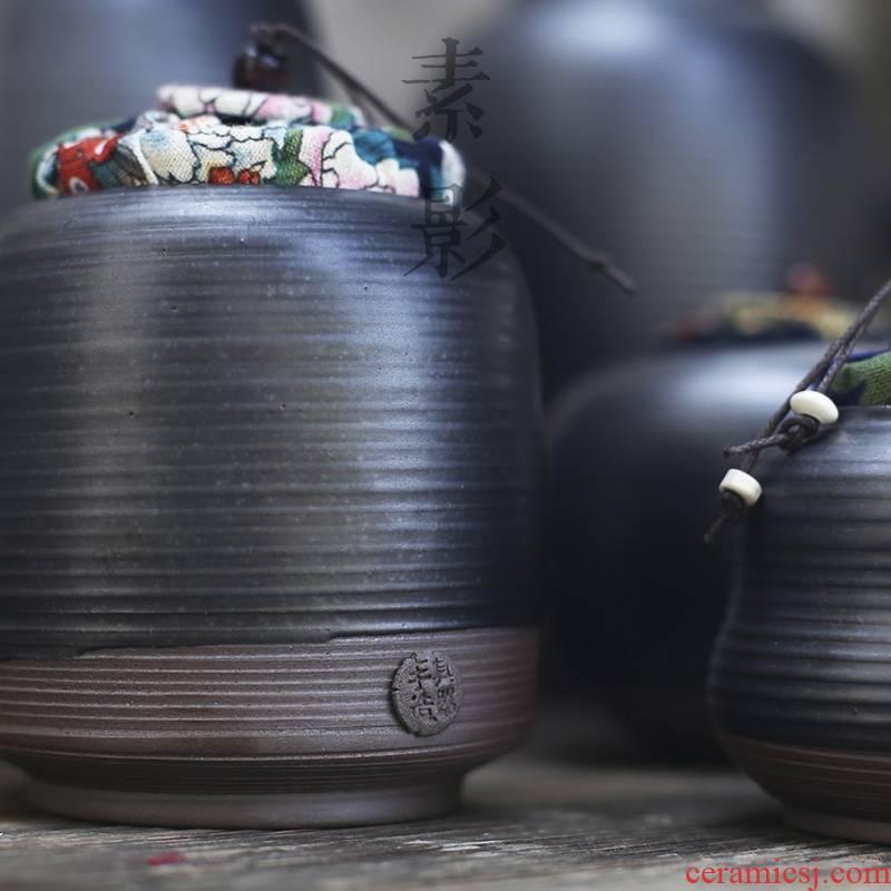 Qiao mu coarse pottery of primitive simplicity and elegant black pottery small black tea tea caddy fixings storehouse ceramics seal pot of tea packaging
