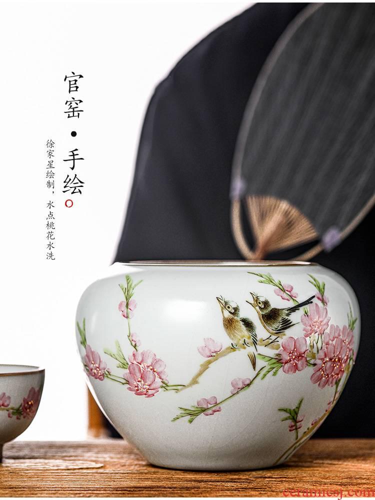 Jingdezhen Xu Jiaxing hand - made some peach blossom put water pure manual your up large tea water washing powder enamel water jar tea accessories