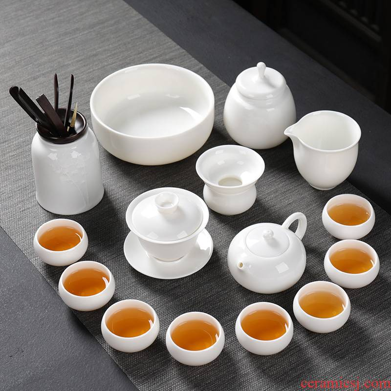 Ya xin a complete set of white porcelain tea set ceramic household kung fu tea set contracted Japanese tureen dehua white tea tray