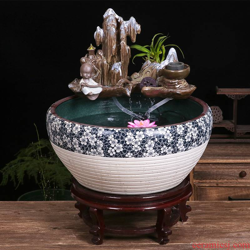 Package mail jingdezhen ceramic circulating water fountain in the goldfish bowl sitting room feng shui furnishing articles the lotus pond lily bowl lotus basin