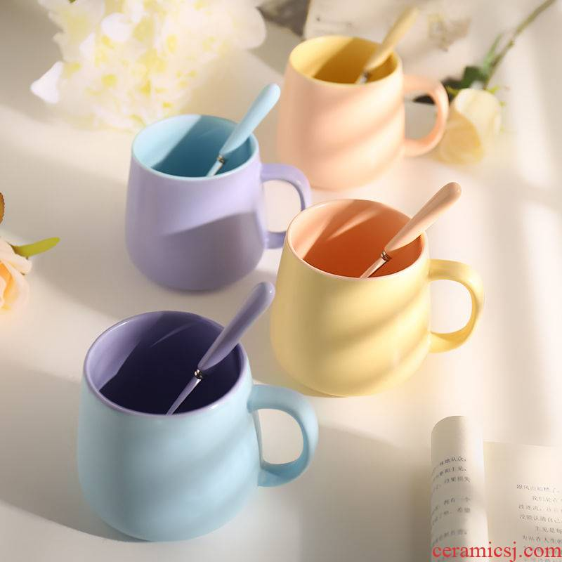 Nordic ins wind creative mark cup with a spoon into milk matte enrolled color coffee cup contracted ceramic water glass cup