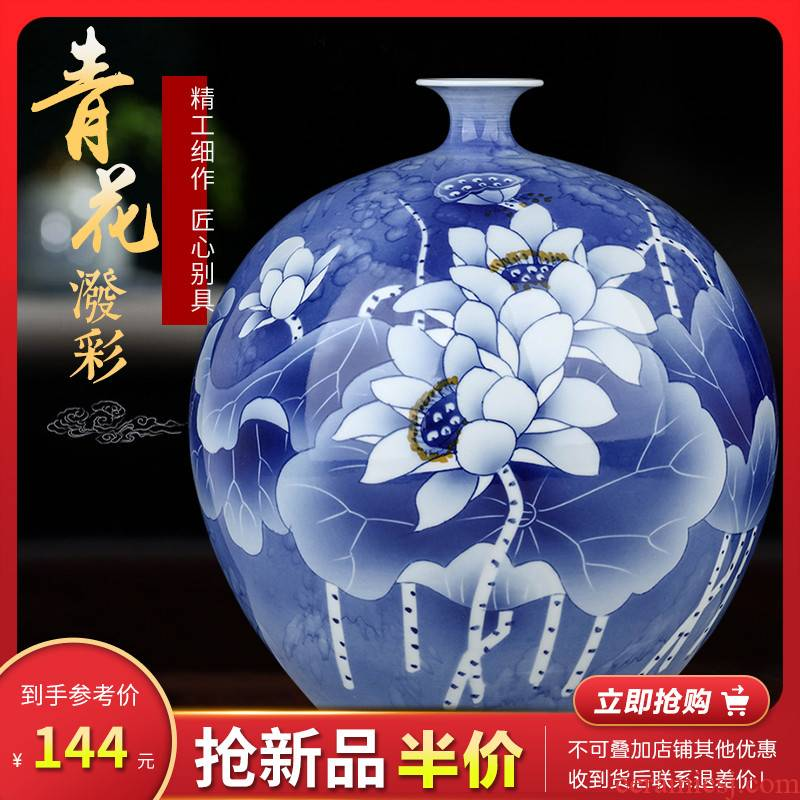 Jingdezhen ceramic blue and white porcelain vases, flower arrangement is a new Chinese style household, sitting room adornment desktop furnishing articles TV ark