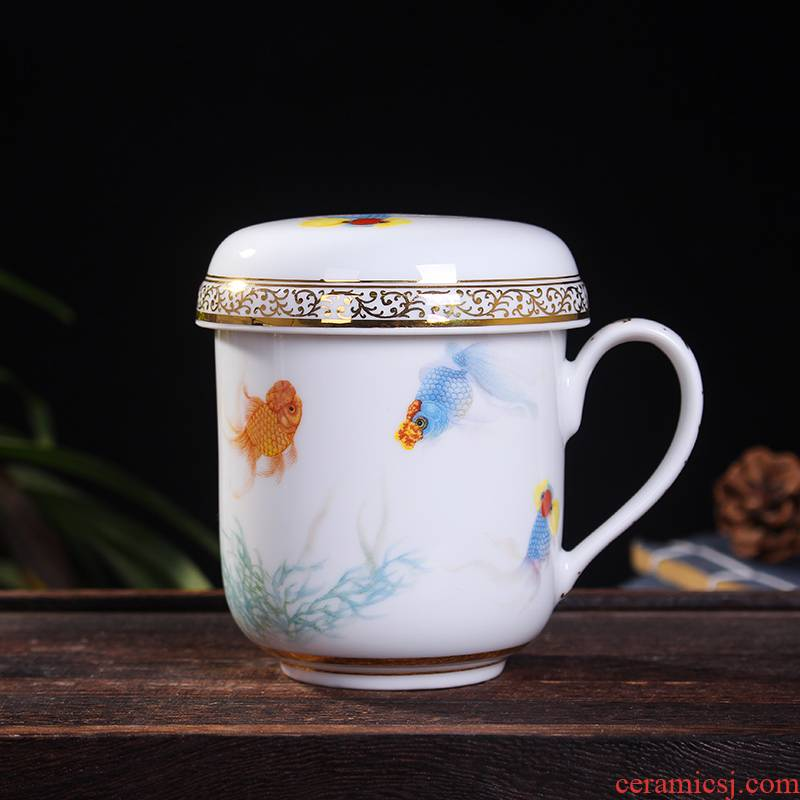 Red xin gold coloured drawing or pattern celadon koubei filter glass cup a cup of tea cups office with cover cups