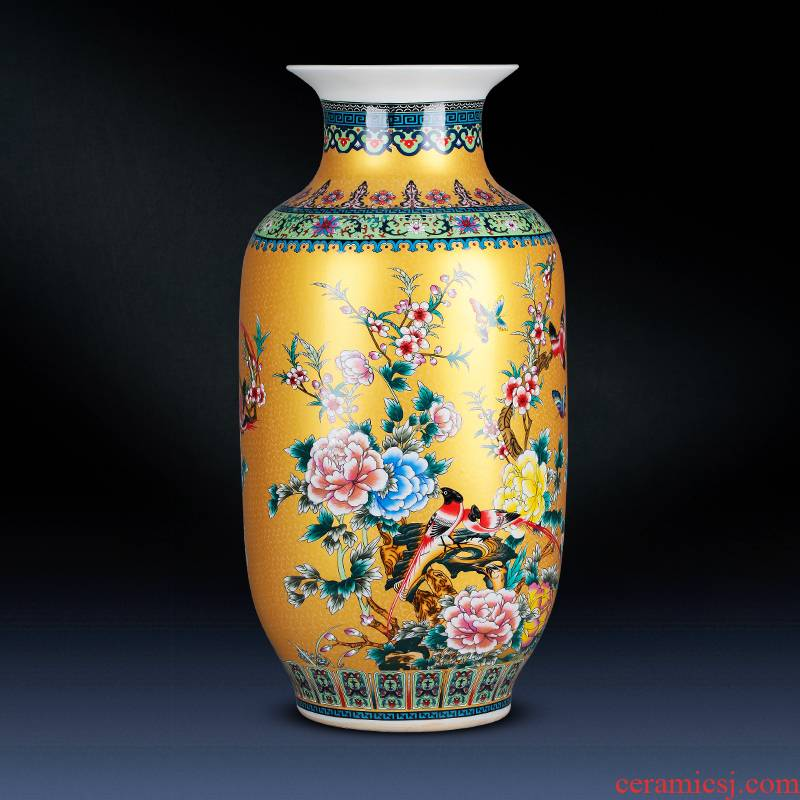 Jingdezhen porcelain ceramic colored enamel flower vase large landing place, a new Chinese style home sitting room adornment