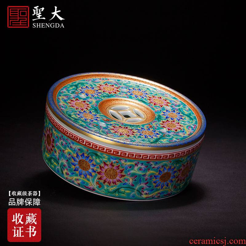 Holy big ceramic pot bearing all hand carved turquoise green colored enamel bound lotus flower grain pot dish of jingdezhen tea service parts