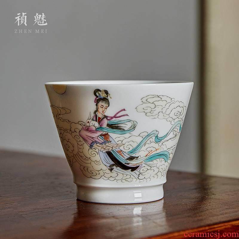 Shot incarnate the jingdezhen ceramic hand - made of chang e cup kung fu tea set personal sample tea cup master cup single CPU