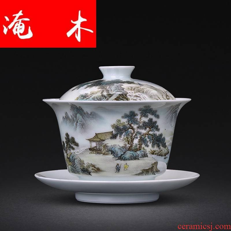 Submerged wood jingdezhen porcelain hand - made pastel scenery only three tureen kung fu tea bowl tea cup