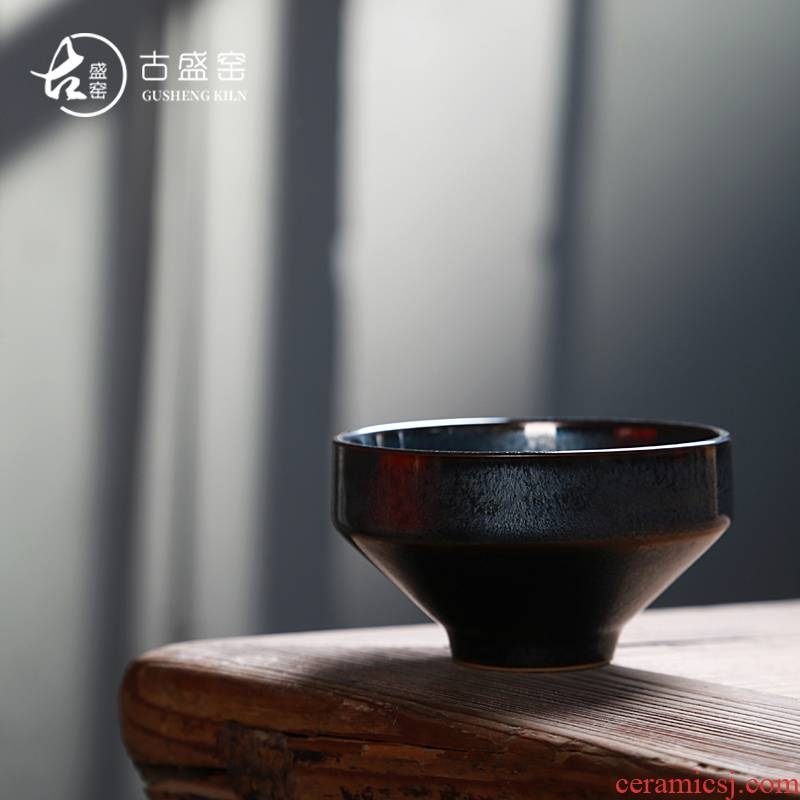 Ancient sheng up built new oolong light temmoku droplets squama lines master single sample tea cup cup song dynasty porcelain bowl