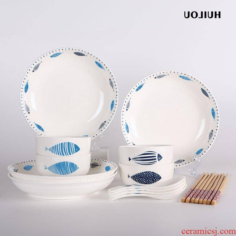 The kitchen ceramic bowl plates home bowl dish dish fish every year gift set tableware suit custom manufacturers