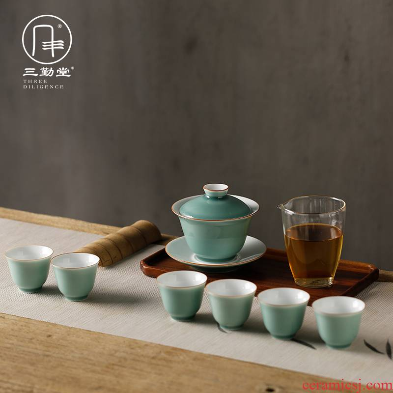 The three frequently color glaze tureen tea set of a complete set of jingdezhen ceramics kung fu tea set TZS278 tea cup