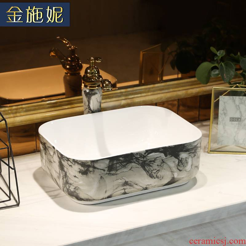 Contracted on the marble ceramic POTS rectangular small household washing basin bathroom art balcony