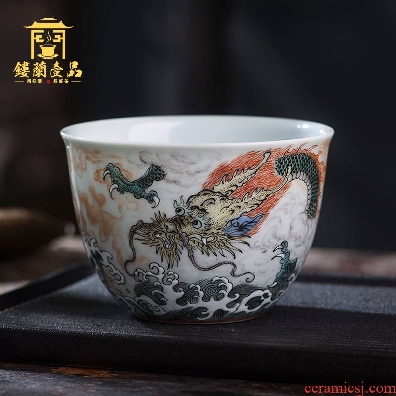 Jingdezhen ceramics all hand - made GuCaiYun sea dragon master cup tea cup personal single cup tea cups