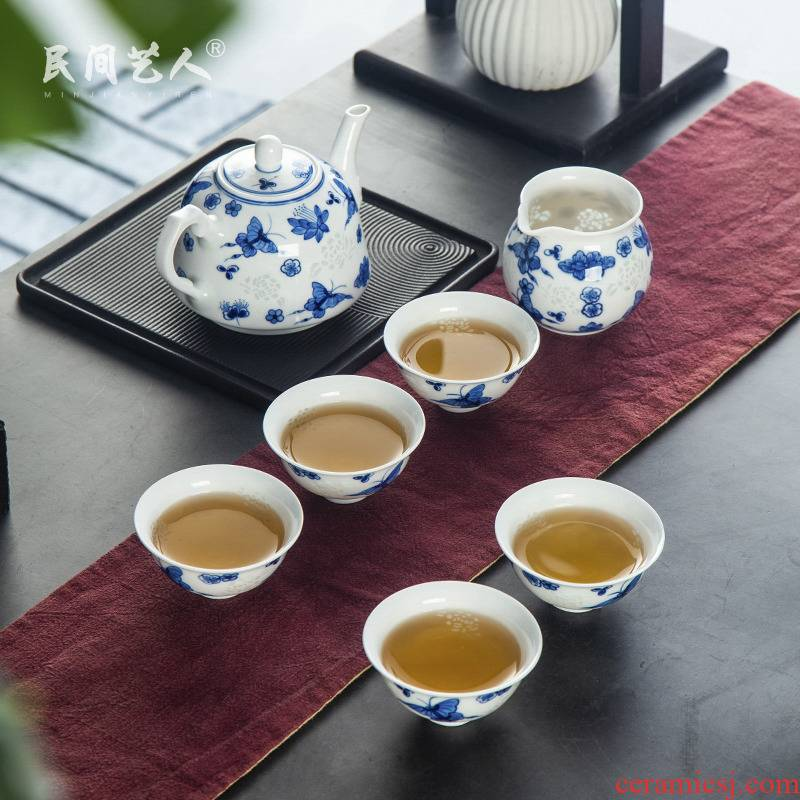 Hand made blue and white porcelain LvKong transparent meters through exquisite ceramic teapot teacup kung fu tea set gift box of a complete set of suits for