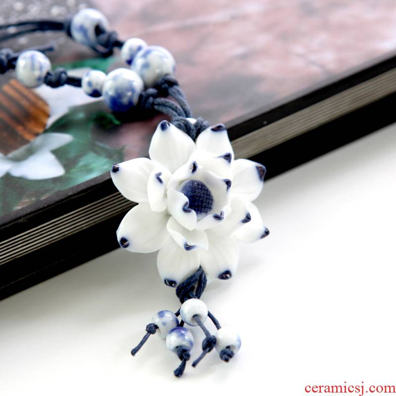 QingGe jingdezhen ceramic necklace manually national wind boxing street source of blue and white porcelain necklace lover