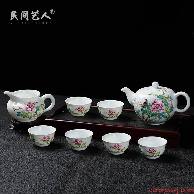 Jingdezhen ceramic hand - made 8 head tea powder enamel kung fu tea set tea tea cup pot set of 6 people use