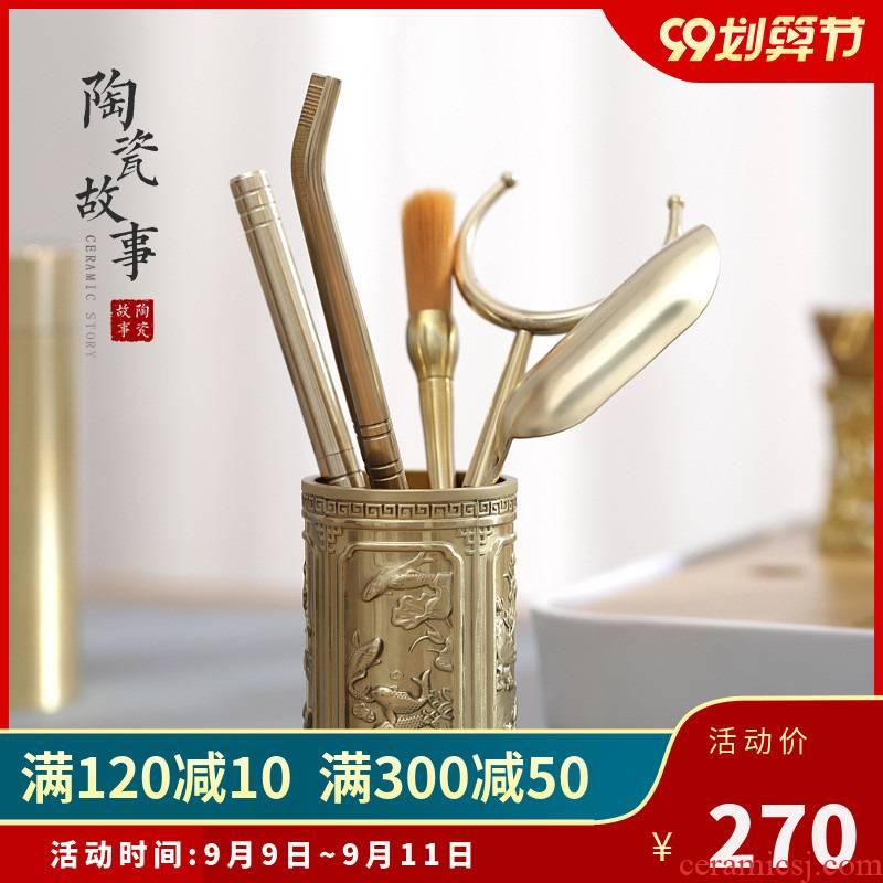 Ceramic story pure copper 6 gentleman kung fu tea set with parts ChaGa needle knife Japanese kung fu tea tea tea sets