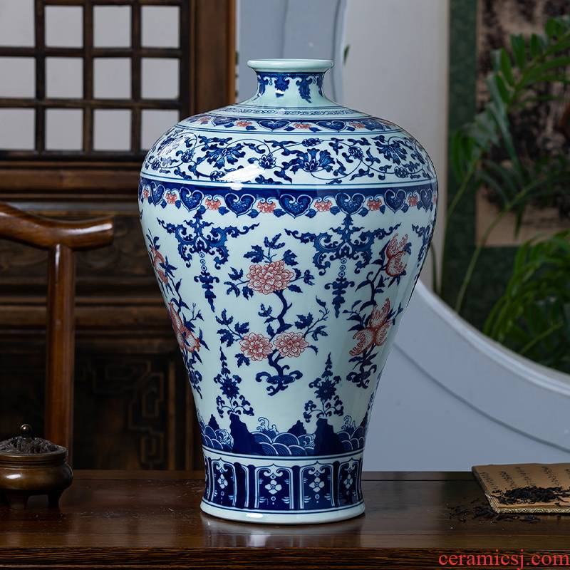 Jingdezhen porcelain ceramic antique large blue and white porcelain vase of new Chinese style household living room TV cabinet decorative furnishing articles