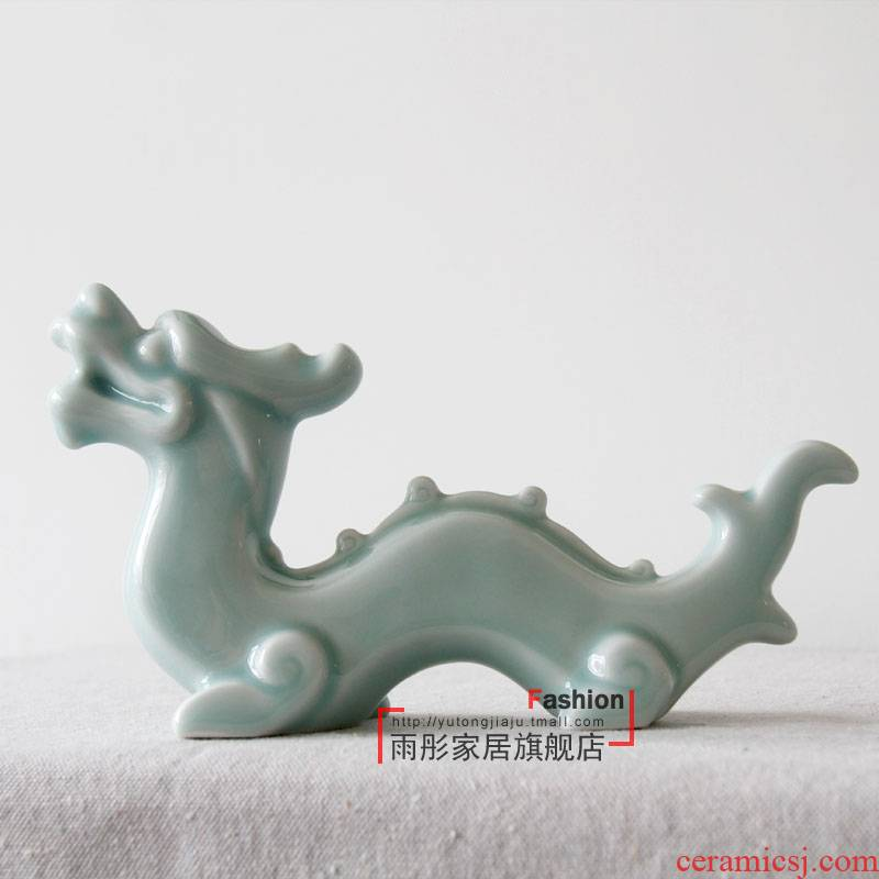 Ceramic shadow cyan dragon furnishing articles study the desktop bijia paperweight pressure by hand made the sitting room porch decoration