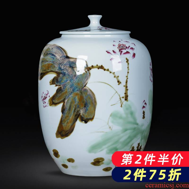Jingdezhen porcelain ceramic hand - made large caddy fixings puer tea cake tin with belt cover barrel seal storage tanks