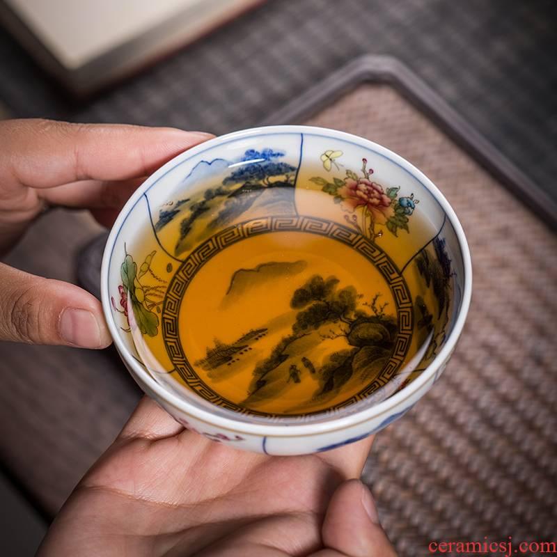 The Owl up jingdezhen blue and white landscape tea cups kongfu master cup drawing window shochiku name plum flower bird cup