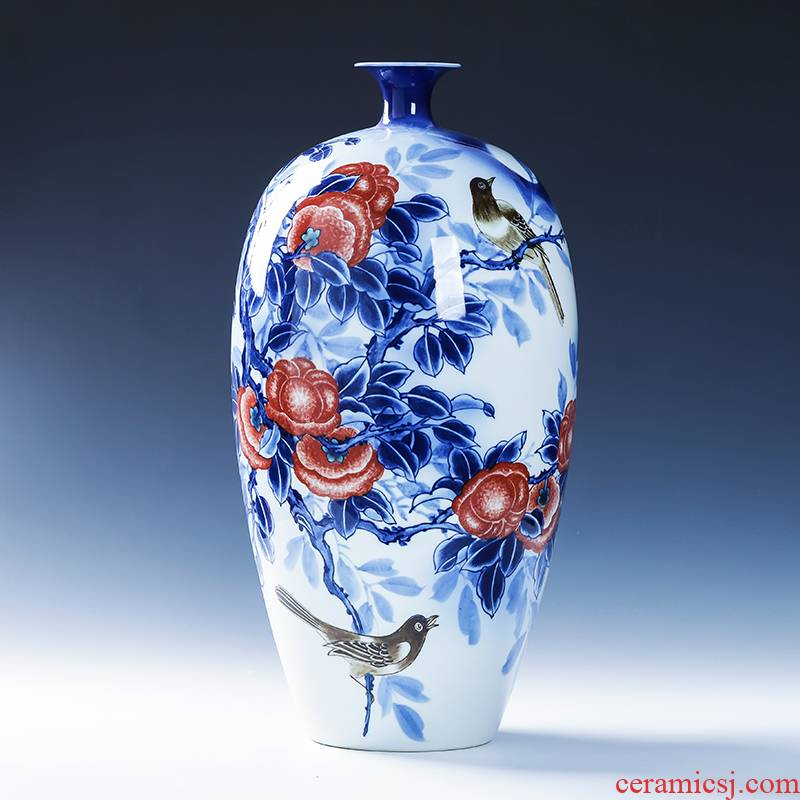 Jingdezhen porcelain ceramic hand - made of blue and white porcelain vase furnishing articles living room TV cabinet decoration of Chinese style household porcelain
