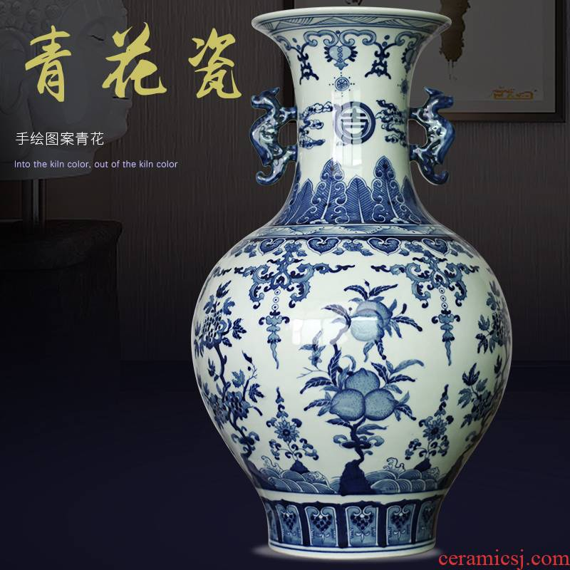 Jingdezhen ceramics archaize rich ancient frame of new Chinese style classical blue - and - white TV sitting room porch ark, handicraft furnishing articles