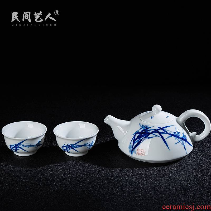 Two cups of tea a lid to use suit hand - made porcelain ceramic cup lid to use household travel tea set gift box
