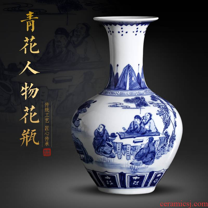 Jingdezhen ceramics antique figures landscape blue and white porcelain vase furnishing articles Chinese ancient frame home decoration in the living room