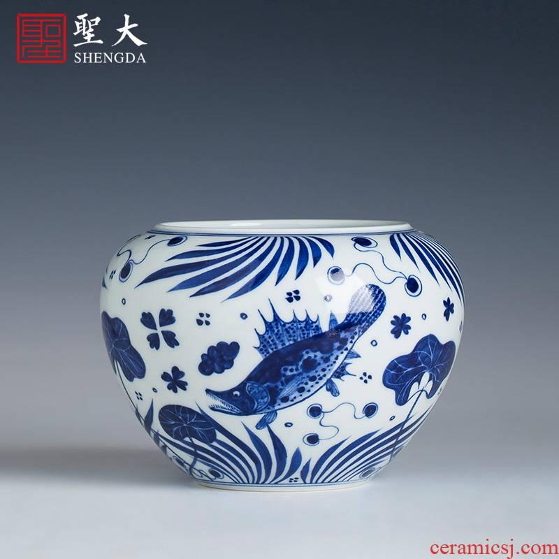 "Santa ""four supplies imitation jintong mackerel algae grain ceramic water jar all hand jingdezhen kung fu tea accessories"