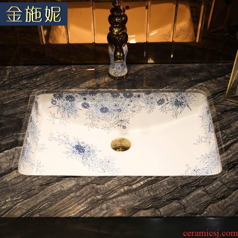 Gold cellnique art ceramics undercounter lavabo embedded laundry pool size balcony sink basin