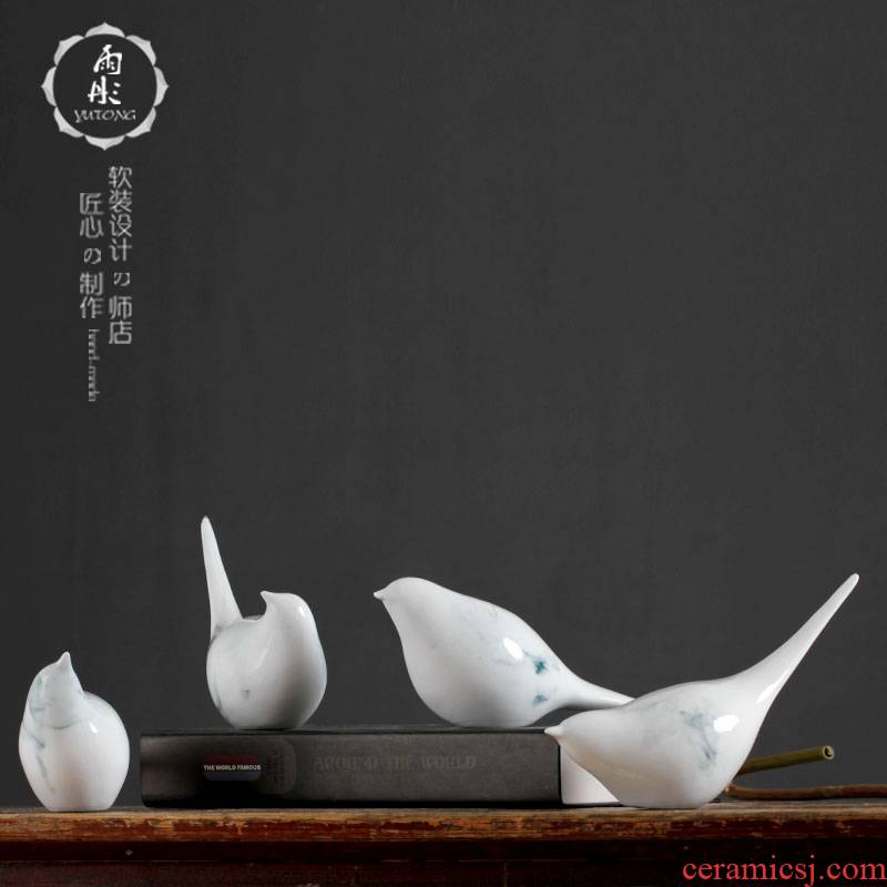 Jingdezhen ceramic, lovely bird furnishing articles innovative new Chinese style household example room living room TV cabinet study adornment
