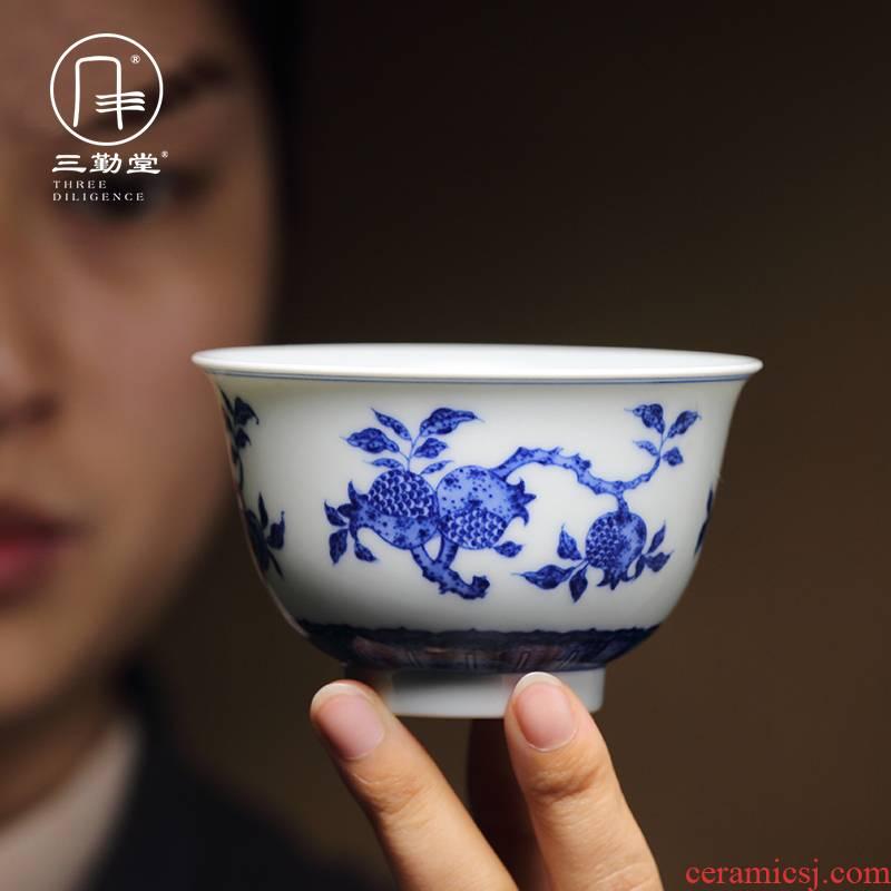Three frequently hall of blue and white porcelain cups master cup single CPU jingdezhen ceramic kung fu tea pu - erh tea sample tea cup TZS283