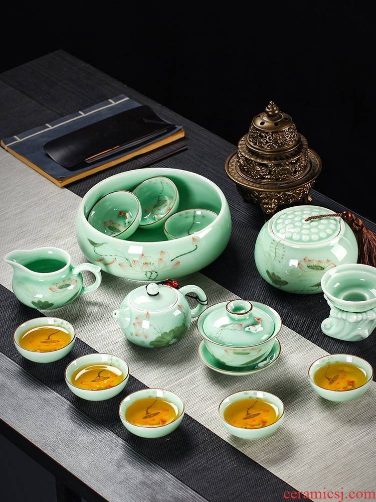Tea set household contracted jingdezhen ceramic celadon teapot teacup Tea tray of a complete set of hand - made kung fu Tea