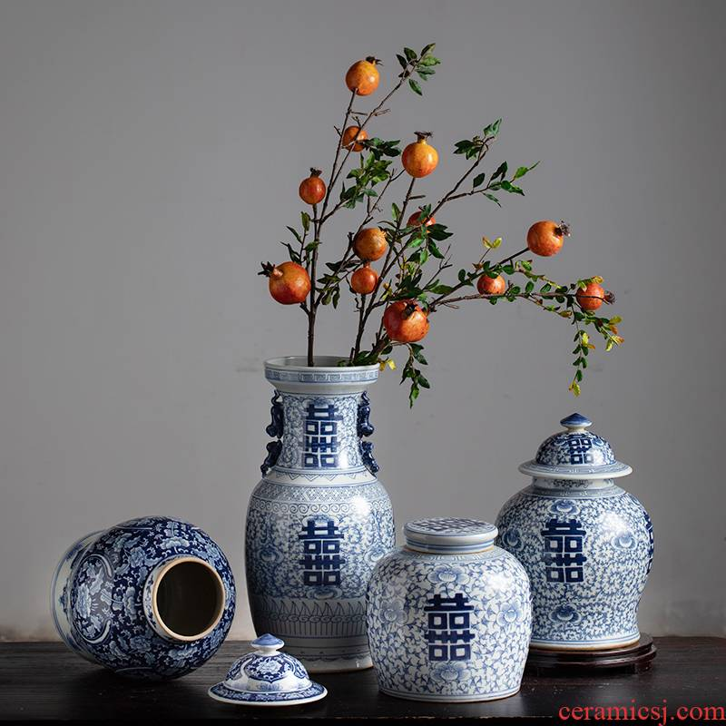 Sitting room adornment flower arranging of blue and white porcelain porcelain jingdezhen blue and white happy character vase household of Chinese style ceramic furnishing articles