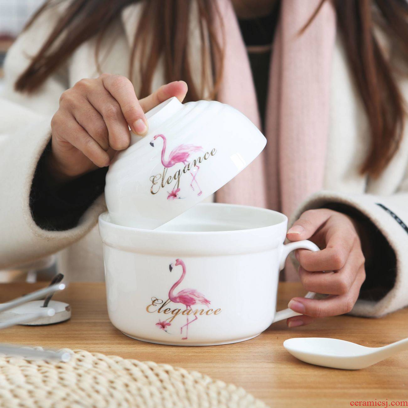 The Japanese large soup bowl kitchen lovely creative cartoon cup noodles take over rice bowl chopsticks household ceramics tableware suit