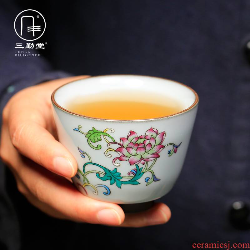 Three frequently hall hand - made pastel up of jingdezhen ceramic cups kung fu tea master cup S42148 single CPU