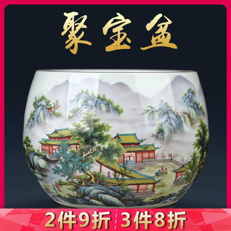 Jingdezhen ceramic powder enamel cornucopia decorations creative home sitting room feng shui plutus desktop office furnishing articles
