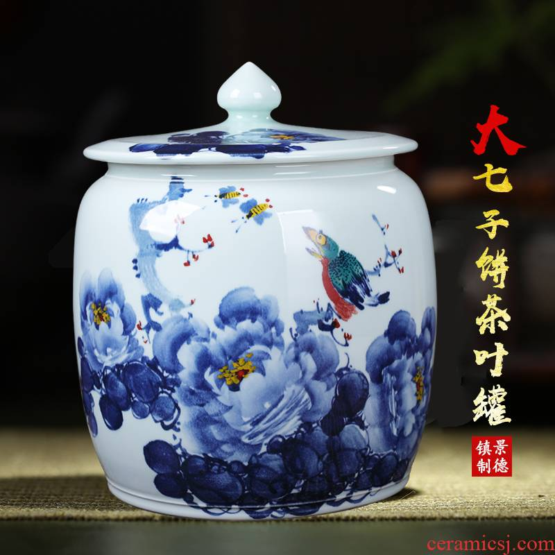 Handwritten Chinese style restoring ancient ways the tea pot of jingdezhen ceramics storage tank is placed moistureproof tea pu - erh tea storage tanks