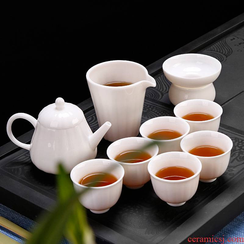 Dehua white porcelain tea set ceramic household pure white kung fu tea pot contracted tea gift box office