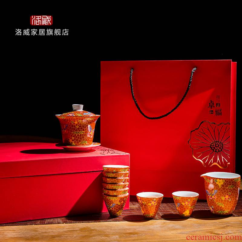 Touch the floor clearance 】 【 kung fu tea set suit household jingdezhen ceramic hand - made tureen fair keller cups