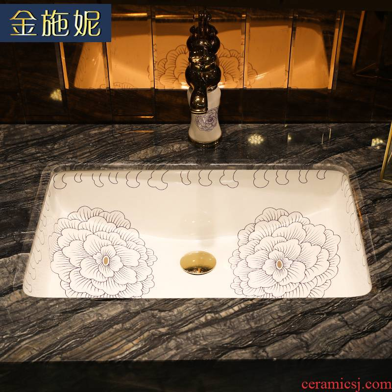 Flower art ceramic undercounter contracted line size household balcony more embedded toilet rectangle to wash their hands