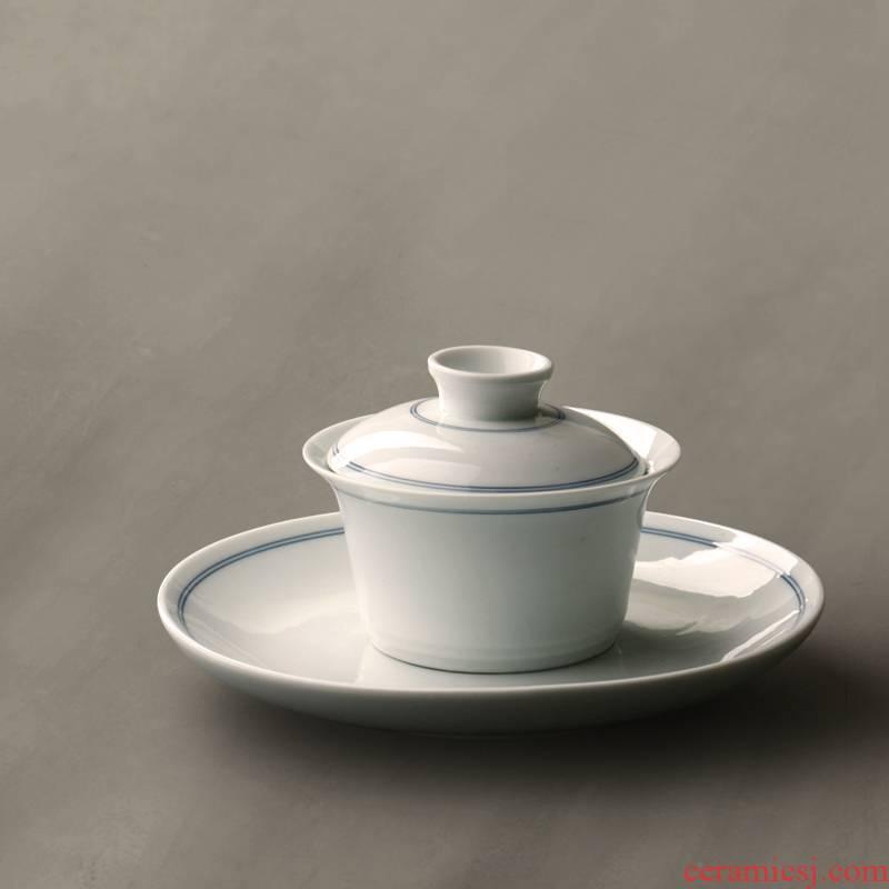 Xuan wen only three tureen tea cup double single jingdezhen Japanese kung fu tea set flat hot tea is not large