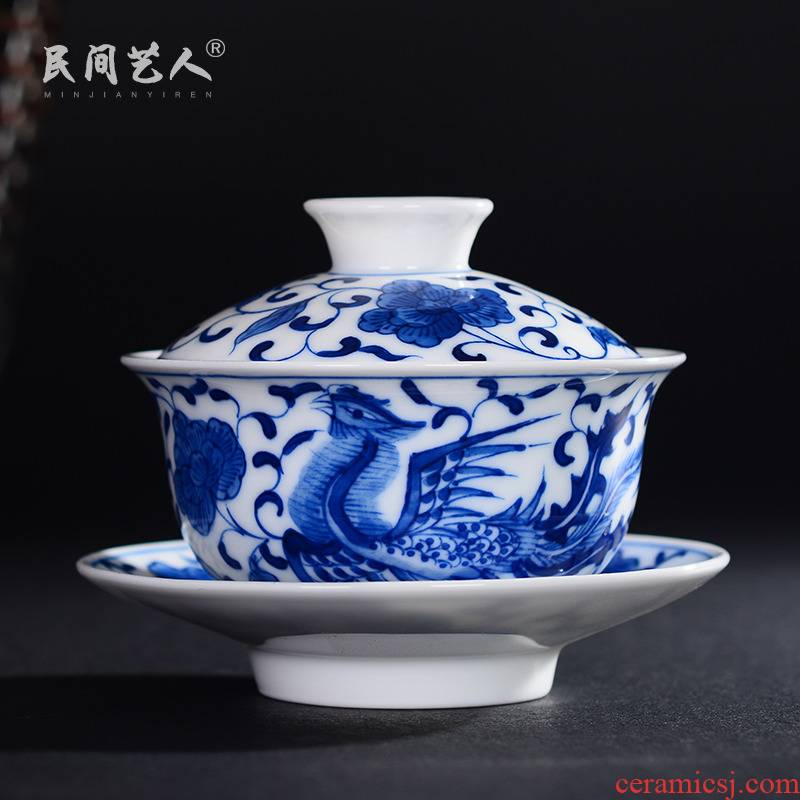 Ceramic tureen tea cup three to use hand draw phoenix jingdezhen blue and white kung fu tea set high white porcelain bowl
