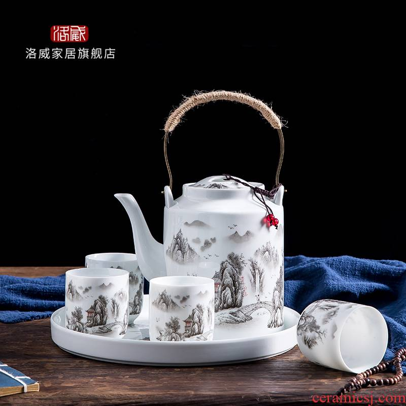 Jingdezhen ceramic teapot cool household girder kettle pot teapot large capacity large old cold suit kettle