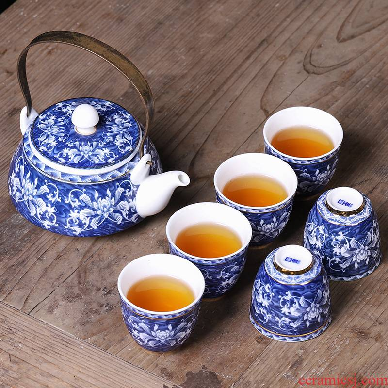 Jingdezhen blue and white porcelain kung fu tea sets, small household ceramic teapot teacup 6 pack box Chinese style restoring ancient ways