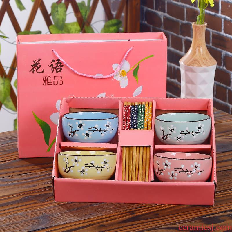 Gift chopsticks sets of household ceramic bowl cutlery set of blue and white bowls bowl dishes suit suit Gift boxes, NJ