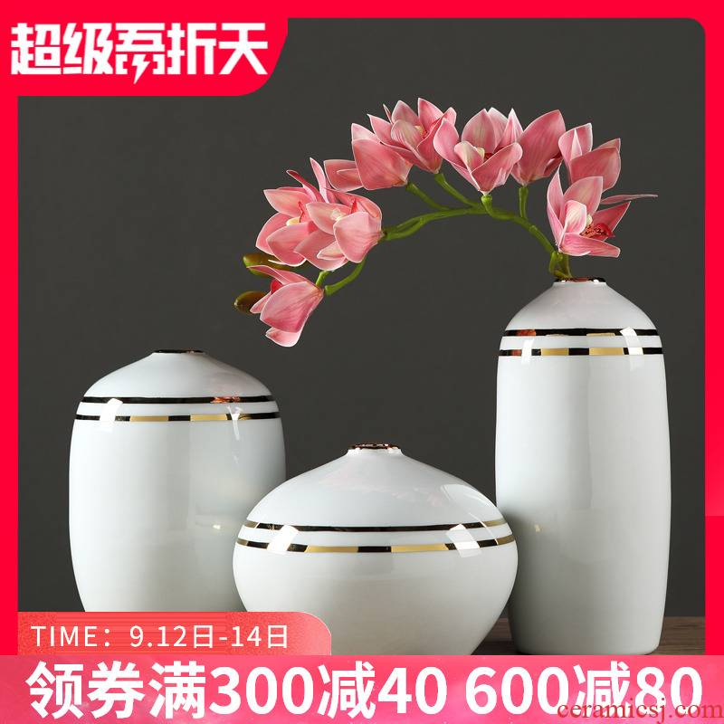 I and contracted ceramic vase furnishing articles sitting room light dry flower simulation flower flower porcelain creative key-2 luxury home decoration