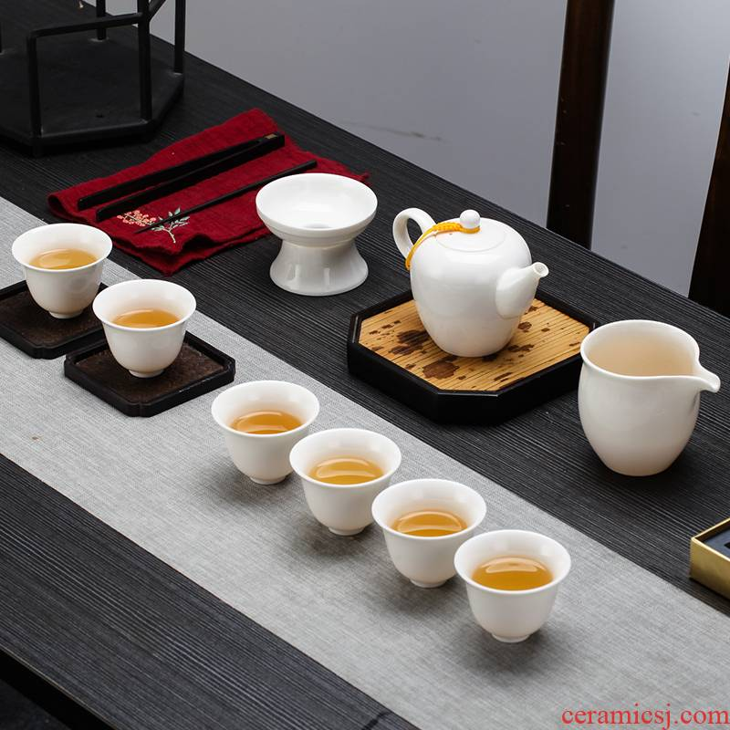 Tea set kung fu Tea set household small white jade porcelain of jingdezhen ceramic teapot teacup of a complete set of office