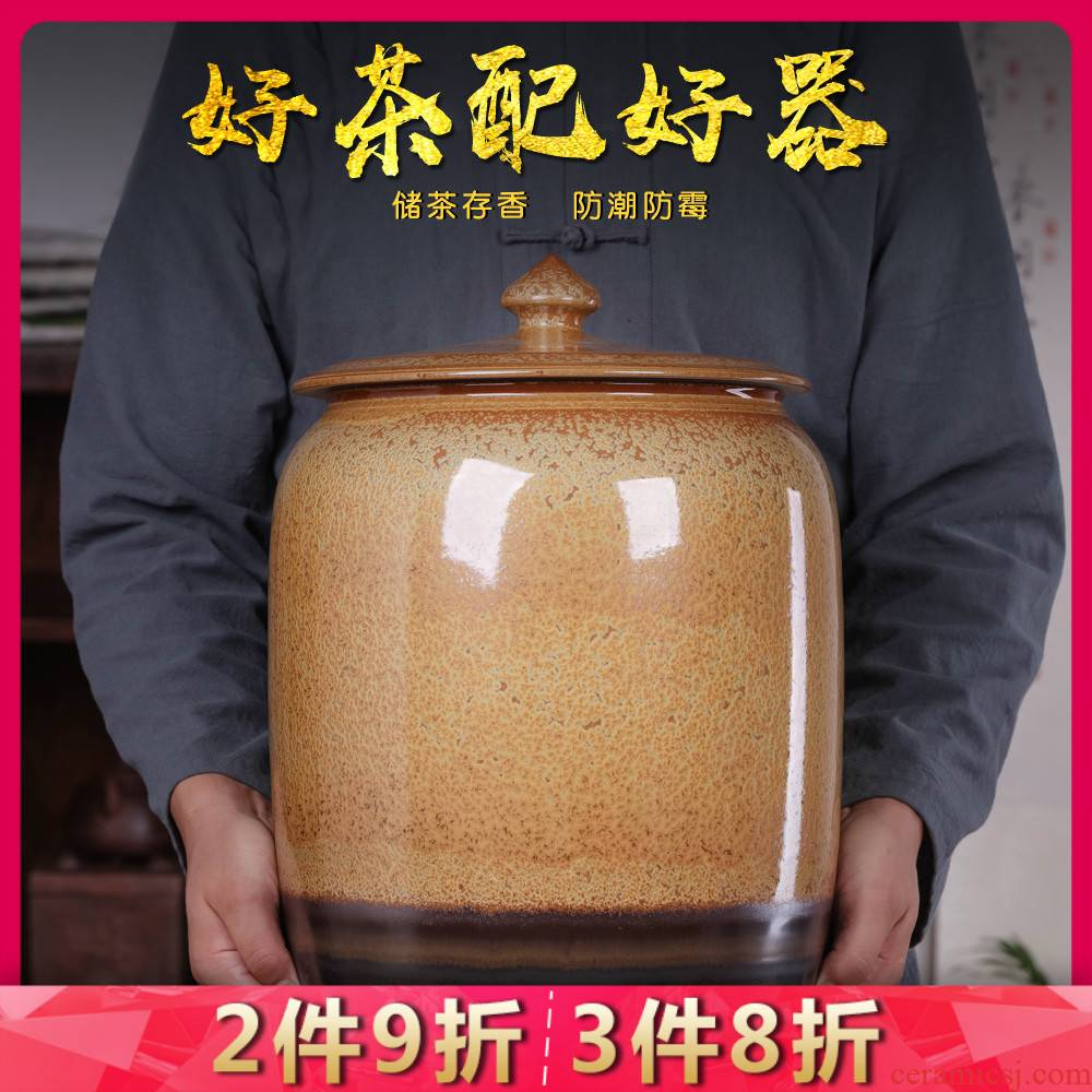 Jingdezhen porcelain tea pot with cover large seal pot tea cake home 30 kg barrel insect - resistant 50 kg