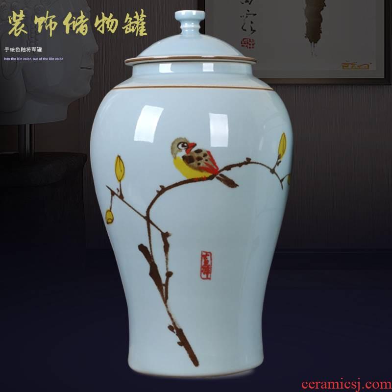 New Chinese style classical jingdezhen ceramics hand - made living room TV ark, general storage tank art handicraft furnishing articles